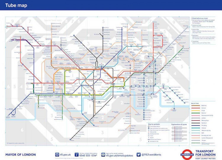 Tube map January 2016