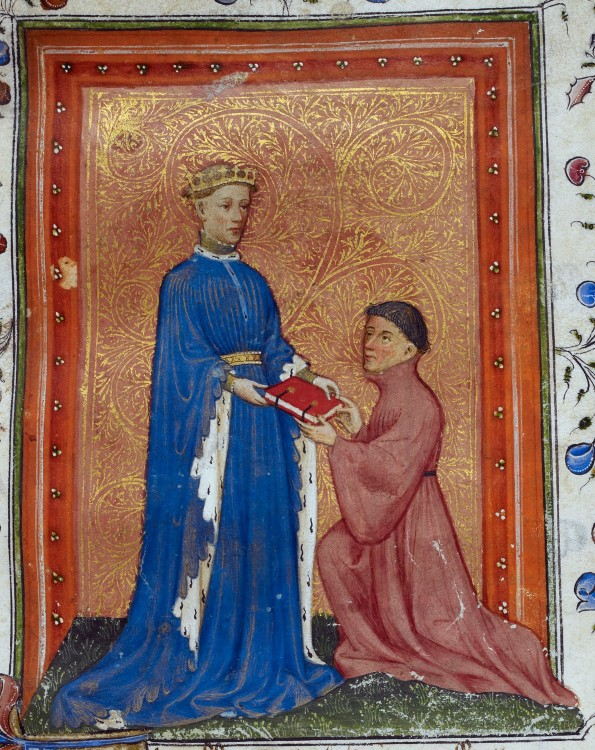 Henry,_Prince_of_Wales,_presenting_this_book_to_John_Mowbray._Thomas_Hoccleve,_Regement_of_Princes,_London,_c._1411-1413,_Arundel_38,_f._37detail